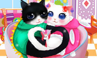 Heart Cats Dressing Up