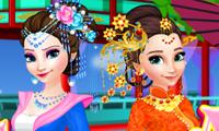 Elsa dan anna Berdandan ala Tiongkok