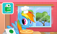 Rainbow Dash cooking M and M cake