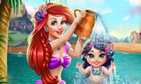 El baño de la bebé de Ariel