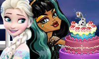 Frozen dan Monster high menghias kue
