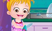 La piccola Hazel: pulizie di casa