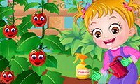 Baby Hazel gaat tuinieren