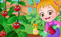 Bébé Hazel fait du jardinage