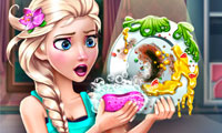 Elsa Dish Washing Real Life