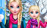 El día de invierno de Elsie y la mamá
